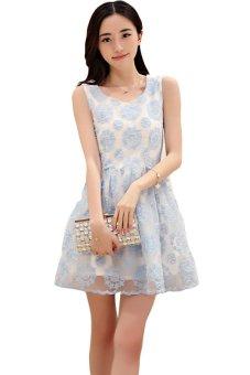 Korean Lace Round Neck Sleeveless Chiffon Organza Women Slim Dress Blue (Intl)