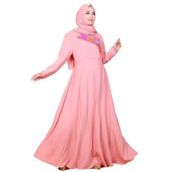 harga Nasywanisa Baju Muslim Gamis NN127 Dress Panjang Batik Busui ( Pink ) Lazada.co.id