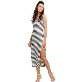 Cyber Women Fashion Round Neck Sleeveless Striped Side Split Long Maxi Dress (Intl)
