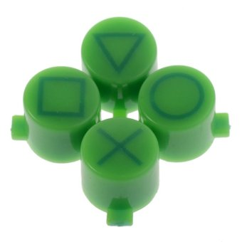 Solid Green Marked Triangle Square Circle X Buttons Replacement for PS4 Controller (Intl)