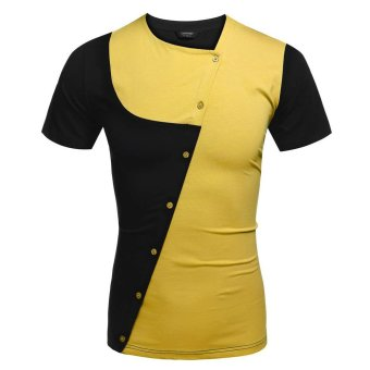 SuperCart COOFANDY Men Asymmetrical Collar Short Sleeve Patchwork Contrast Color T Shirt Tops (Gold) - Intl