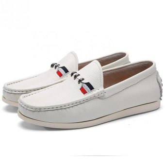 British retro fashion exquisite casual and comfortable soft bottom shoes Peas(white) - Intl