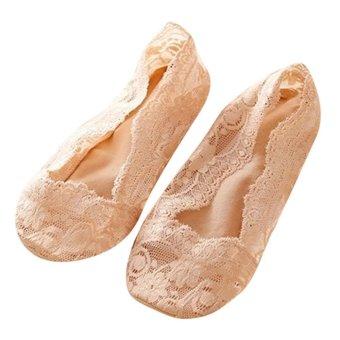 Women Cotton Lace Antiskid Invisible Liner No Show Peds Low Cut Socks Complexion (Intl)