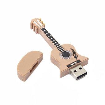 S & F 16GB Cute Mini Guitar Style USB 2.0 Flash Stick Memory Pen Thumb Drive Storage (Brown) - Intl