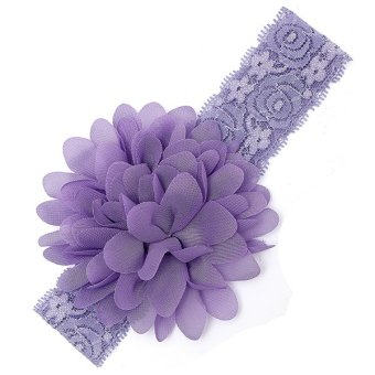 Baby Lace Candy Color Ruffle Flower Elastic Headbands (Light purple)