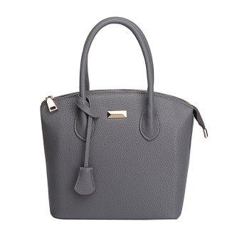 KUNPENG Women PU Leather Top-Handle Bags DarkGrey - Intl