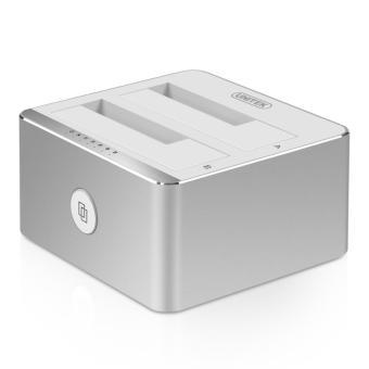 (UNITEK)USB3.0 Mobile Hard Disk Base Expansion Capacity Base SATA3.0 High Speed Dual Disk Port Universal 2.5/3.5 Inch Serial Port Aluminum (Sliver)Y-3026SL - intl
