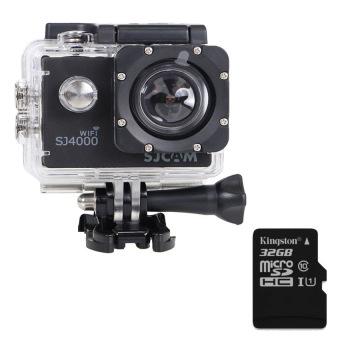 harga Original!! Novatek NTK96655 1080P Full HD SJCAM SJ4000 WIFI SportsAction Camera (Black) + Extra Micro SD Card Kingston Class10 32GB - Intl Lazada.co.id