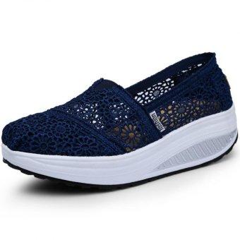 PATHFINDER Women Fashion Wedge Sneakers Sport Lace Shoes (Dark Blue)- Intl
