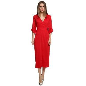 NEW European Style Ladies Women Sexy V-neck Medium Sleeve Mid-calf Solid Dress Rope (Red) - Intl