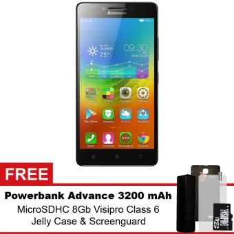 Lenovo A7000 - 8GB - Hitam + Gratis Powerbank Advance 3200 mAh + MicroSDHC 8Gb Visipro Class6 + Jellycase + Screenguard