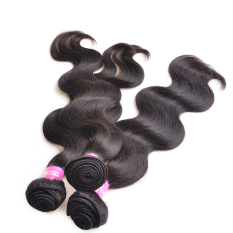 16''18''20'' Full Head Brazilian Human Hair Extensions Body Wave Double Weft Hair Weave Natural Black (Intl)