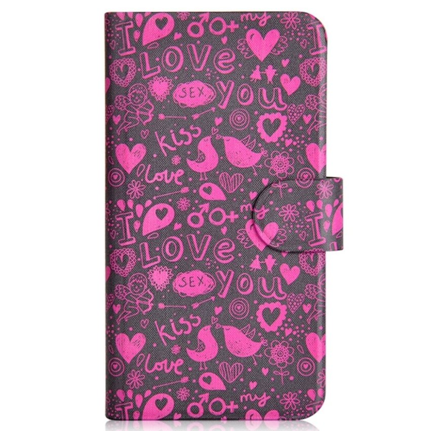 Red Bird Kiss Love Bird Sexy Design Card Slot Magnetic PU Leather Flip Case Cover Compatible For Haier i860 W860