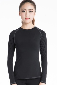 Woman's Tight Long Sleeve For Yoga And Fitness T-shirt (Black)(INTL)