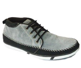 Cassico Ca 410 Sepatu High Cut Sneaker Pria - Leather - Tpr Outsole - Keren Dan Modis - Abu-Abu Kombinasi