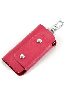 Leather Key Holder Rose Red
