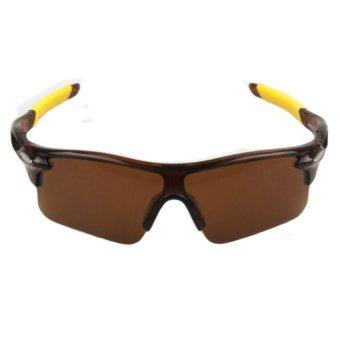 Men Women Cycling Glasses UV400 Outdoor Sports Windproof Eyewear Mountain Bike Bicycle Motorcycle Glasses Sunglasses (Tea frame tea tablets) - Intl