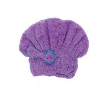Cocotina Women's Quickly Hair Dry Hat Microfiber Turban Wrapped Towel Bow Decor Cap Elastic Bath Accessory - Purple - INTL