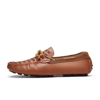 Jane blue store Men's Flats Shoes Casual Leather Boat shoes(brown)