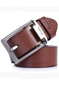 Casual Cowhide Leather Jeans Belt Brown