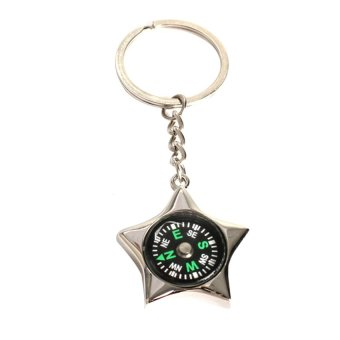 MEGA Star-shaped Ruder Compass Pendant Keychain Outdoor Camping Key RingGift - INTL