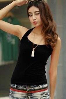 Toprank Drop/Multi-Colour Sexy Women Summer Cotton T-Shirts Halter Neck Off Shoulder Camisole Tank Top ( Black ) - Intl