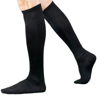 Knee High Tube Men Sports Thin Socks for Soccer Football (Black) QA054-SZ - Intl (Intl)