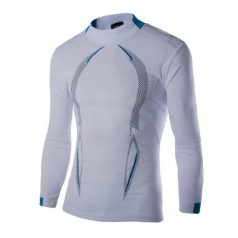 Men's Compression Sports Tight Shirts Fitness Gym Tops Blouse Long Sleeve White- Intl