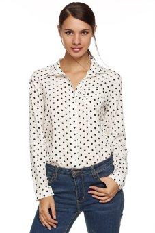 Cyber Women Long Sleeve Polka Dot Chiffon Bottoming Blouses Shirt ( White )