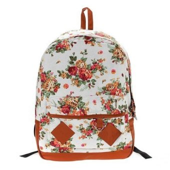 Pastoral Style Canvas Flower School Bags Students Bookbags Backpack (White) - Intl