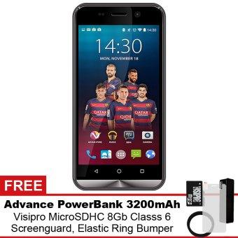 Advan i45 4G LTE - 8 GB - Gold + Gratis Powerbank + Micro SDHC 8Gb + Screenguard + Flipcover