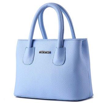 women casual brief PU leather handbag(Light Blue)- Intl