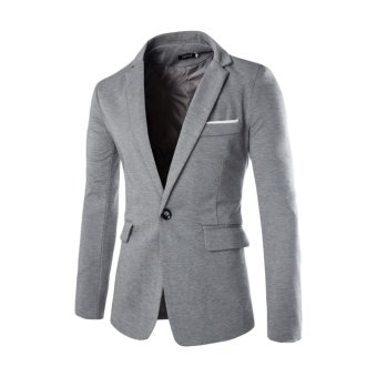 EOZY Brand New Men's Solid Color Lapel Collar One Button Blazer Jacket Outerwear Korean Style Male Leisure Casual Suit Jacket Coat (Grey) (Intl)