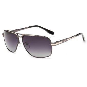 Vintage Round Polarized Sunglasses Men Fashion Sun Glasses Man Sun Glasses Points H4253-03 (Gradual Grey) (Intl)
