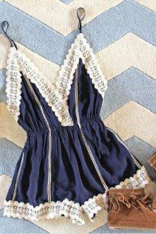 Siebel Spaghetti Strap Deep V-neck Appliques Casual Jumpsuit S-XL Blue (Intl)