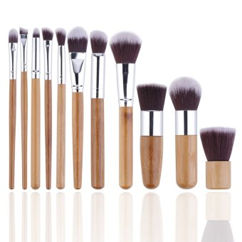 Allwin 11pcs Natural Bamboo Makeup Brushes Foundation Blending Brush Tool Set Wooden- Intl
