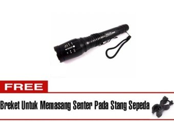harga Halona - High Quality Original Senter Police T6 Bonus + Braket/Breket/Bracket With Cone Lalin - Sarung Kompas/Compass 2 Battery Cas and 2 Slot Charger Ultrafire - Hitam Lazada.co.id
