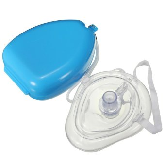 CX Smooth Pocket First Aid Size CPR Mask Resuscitator w/ Hard Case Box (Blue)