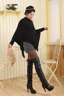 Azone European Style Lady Knitted Sweater Top Check Pullover Shawl Sweater (Black) - Intl