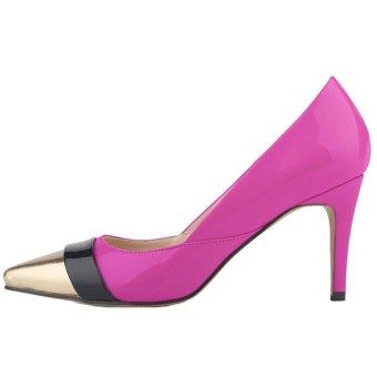 Women's Mid High Heels Pointed Toe Stiletto Pumps(Purple) (Intl)