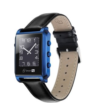 ZOMTOP Bluetooth Smart Wrist Watch Stainless Steel Metal Sapphire Cover 50m Waterproof Phone Watch for Iphone 6,6 Plus,5S Samsung HTC (Blue) (Intl)