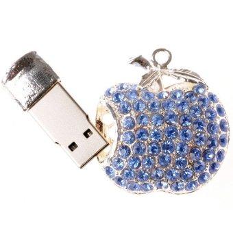 Elefull Diamond Metal USB Flash Drives 4GB U Disk Storage Pen Drive USB 2.0 Memory Stick Blue (Intl)