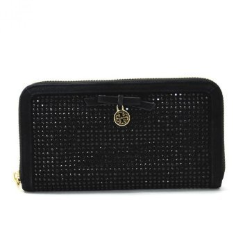 Tory Burch All-Over Crystal Zip Continental Wallet - Hitam