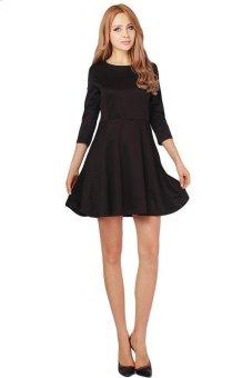 LALANG Fashion Women Round Collar 3/4 Sleeve Evening Party Dress Black (Intl)