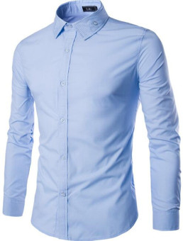 New Men's Luxury Formal Casual Button Long Sleeve Shirts light blue (Intl)