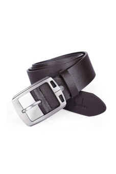 Cocotina Stylish Men Faux Leather Pin Buckle Casual & Dress Solid Color Vintage Belts – Brown- INTL