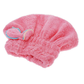 Home Textile Useful Dry Hair Hat Microfiber Hair Turban Quickly Dry Hair Hat Wrapped Towel Bathing Cap—Red - INTL