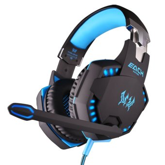 harga KOTION EACH G2100 Vibration Function Professional Gaming Headphone Games Headset with Mic Stereo Bass LED Light for PC Gamer (Blue) Lazada.co.id