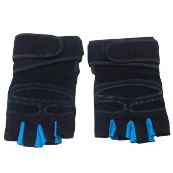 Hang-Qiao Strong Power Anti-Slip Fitness Unisex Gym Protective Tactical Gloves XL (Blue) - Intl