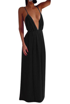 Toprank Women Pleated Spaghetti Strap Deep V-Neck Long Party Dress Evening Maxi Dress ( Black ) (Intl)